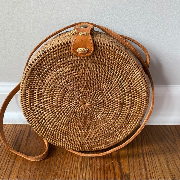 Round Hand Woven Rattan Bag
